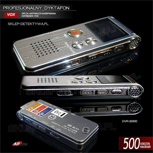 Dyktafon 500 godzin nagrań