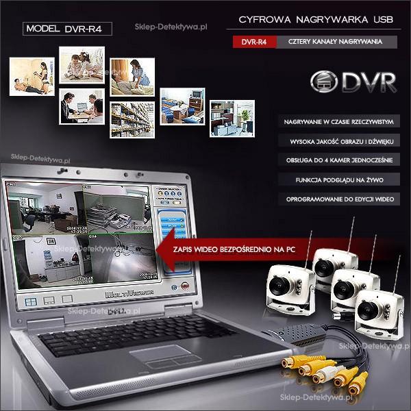 Aktualne Nagrywarka USB/PC obsługa do 4 kamer jednocześnie DVR-R4 Sklep WR33